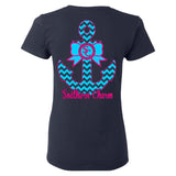 Southern Charm Anchor on Navy Ladies Cut Short Sleeve T Shirt