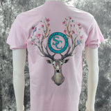 Buck with Flowers & Birds Southern Charm Collection on a Light Pink Short Sleeve T Shirt