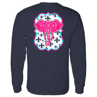 Southern Charm Elephant on a Long Sleeve Navy T Shirt