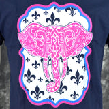 Southern Charm Elephant on a Short Sleeve Navy T Shirt