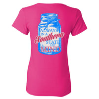 Southern Charm Mason Jar on Pink Ladies Cut Short Sleeve T Shirt
