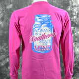 Southern Charm Mason Jar  Southern State of Mind Short Sleeve Long Sleeve Pink T Shirt