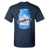Southern Charm Mason Jar  Southern State of Mind Short Sleeve Navy T Shirt