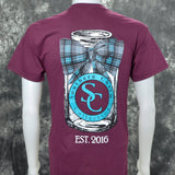 Plaid Bowtie on Mason Jar Southern Charm Collection on a Maroon Short Sleeve T Shirt
