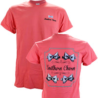 Southern Charm Preppy Bowtie on a Coral Short Sleeve T Shirt