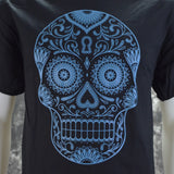 Sugar Skull in Teal on a Black T Shirt