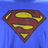 Superman Logo  Distressed Vintage Print on a Heathered Blue Short Sleeve T Shirt Short Sleeve T Shirt