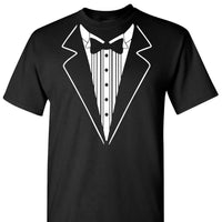 Tuxedo on a Black Short Sleeve T Shirt