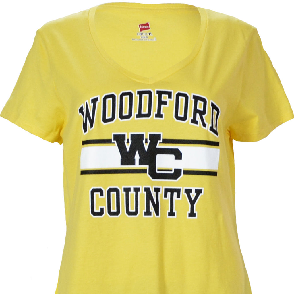 Woodford County Ladies V-Neck on a Soft Yellow Short Sleeve T Shirt - Versailles, KY