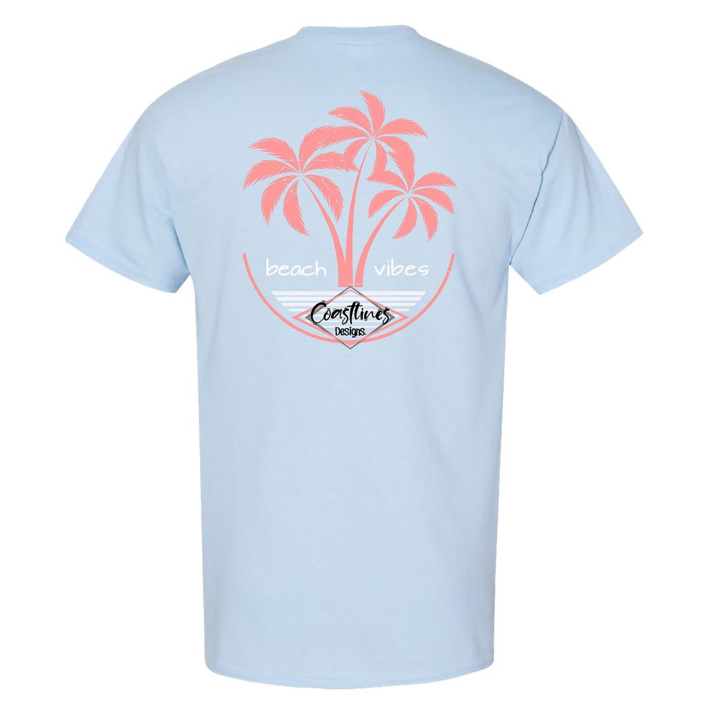 Coastlines Designs Beach Vibes on a Light Blue T Shirt