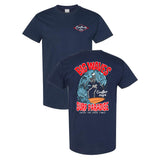 Coastlines Designs Big Waves Surf Paradise on a Navy T Shirt