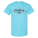 Coastlines Designs Official Logo on a Sky Blue T Shirt