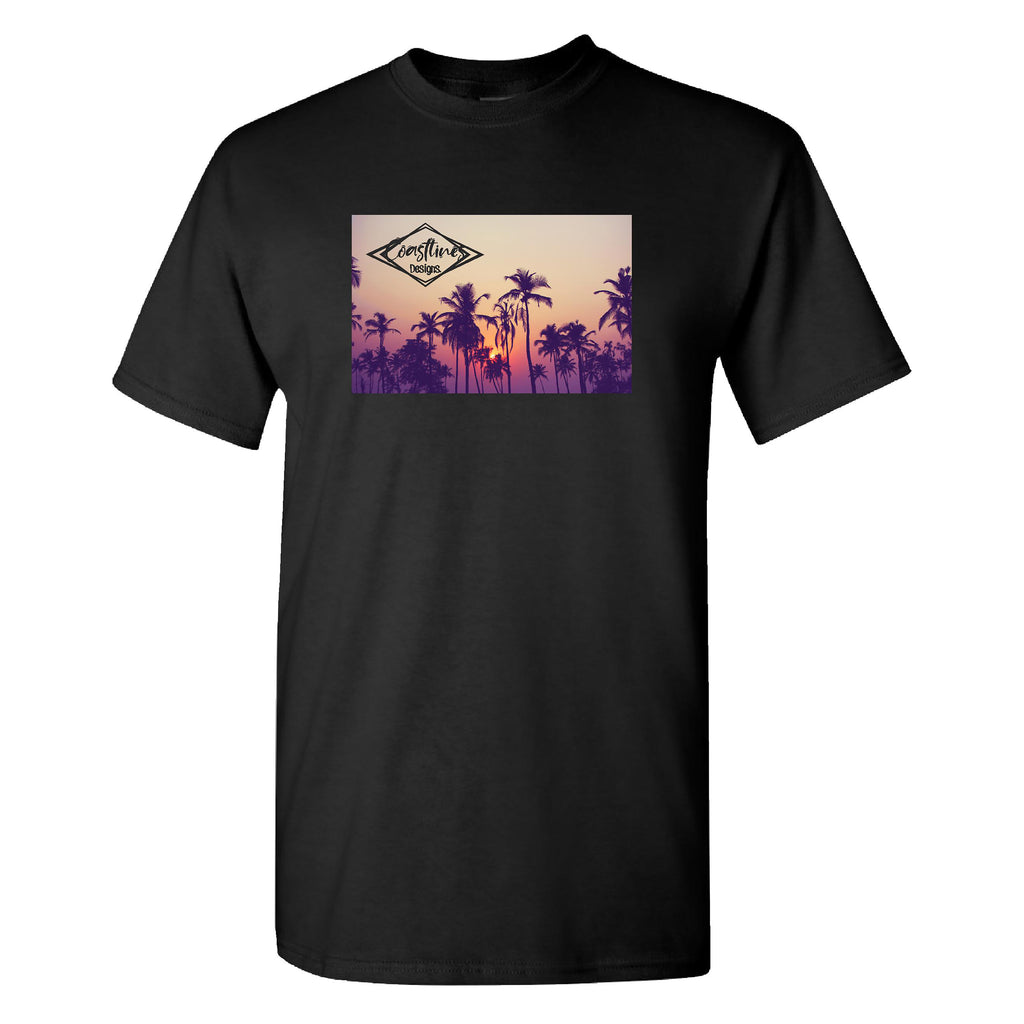 Coastlines Designs Palm Silhouette on a Black T Shirt