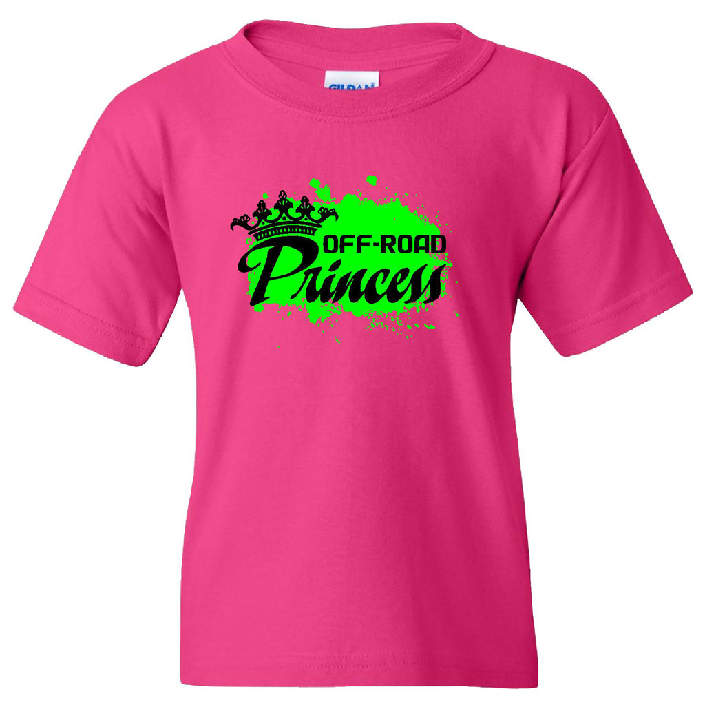 Extreme Muddin Off Road Princess on a Youth Pink Short Sleeve T Shirt