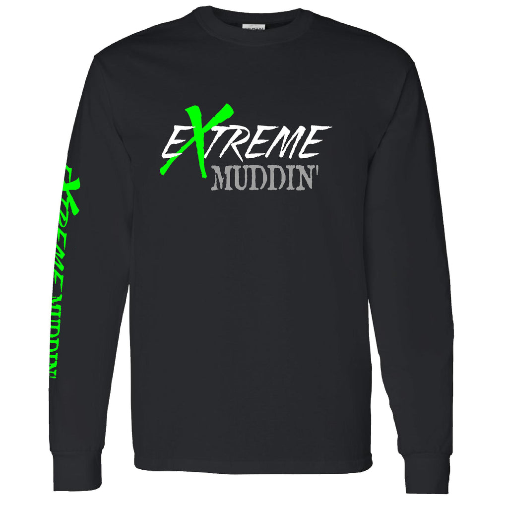 Official Extreme Muddin' Logo On on a Long Sleeve Black T Shirt