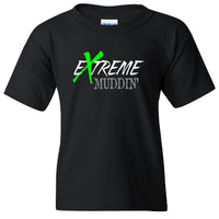 Extreme Muddin Logo on a Youth Black Short Sleeve T Shirt