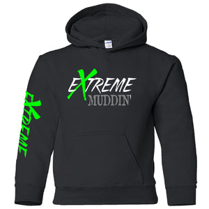 Extreme Muddin on a Youth Black Hoodie