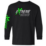 Extreme Muddin' Logo on a Youth Black Long Sleeve T Shirt