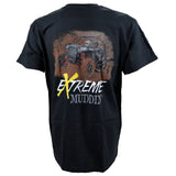 Extreme Muddin' Getting Muddy on a Black T Shirt