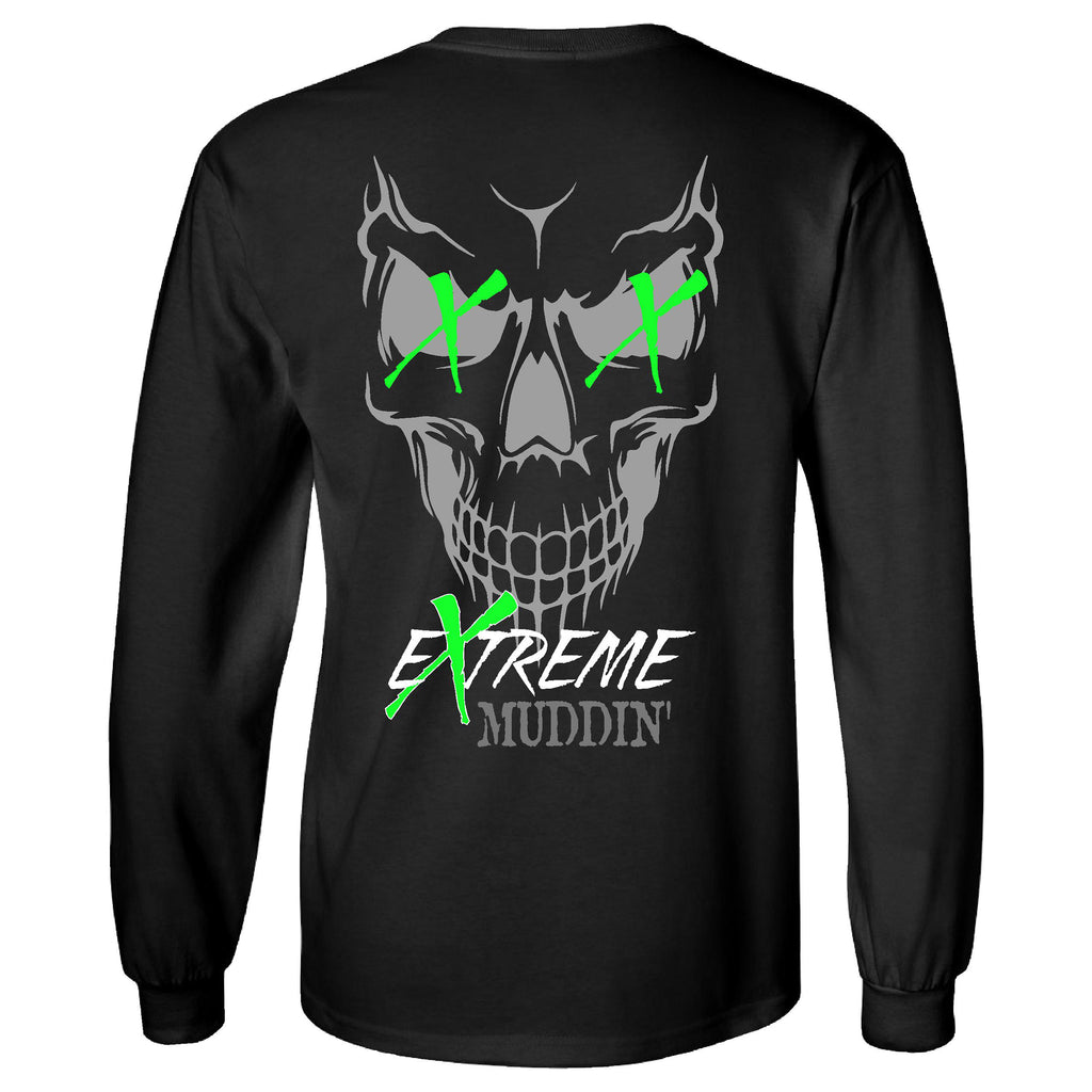 Extreme Muddin' Skull XX on a Long Sleeve Black T Shirt