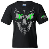 Extreme Muddin Skull X X  Logo on a Youth Black Short Sleeve T Shirt