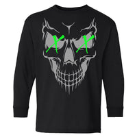 Extreme Muddin Skull X X  Logo on a Youth Black Long Sleeve T Shirt