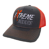 Extreme Muddin' Logo on a Snap Back Orange & Grey Hat