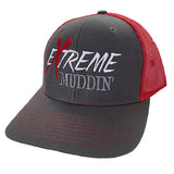 Extreme Muddin' Logo on a Snap Back Red & Grey Hat