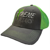 Extreme Muddin' Logo on a Snap Back Green & Grey Hat