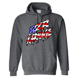 RZR Karnage American Flag on a Dark Heather Hoodie
