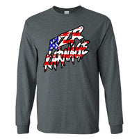 RZR Karnage American Flag on a Dark Heather Long Sleeve T Shirt