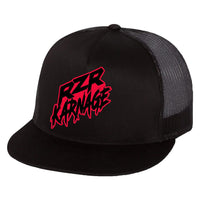 RZR Karnage Flat Bill Trucker Style Snap Back Black Hat