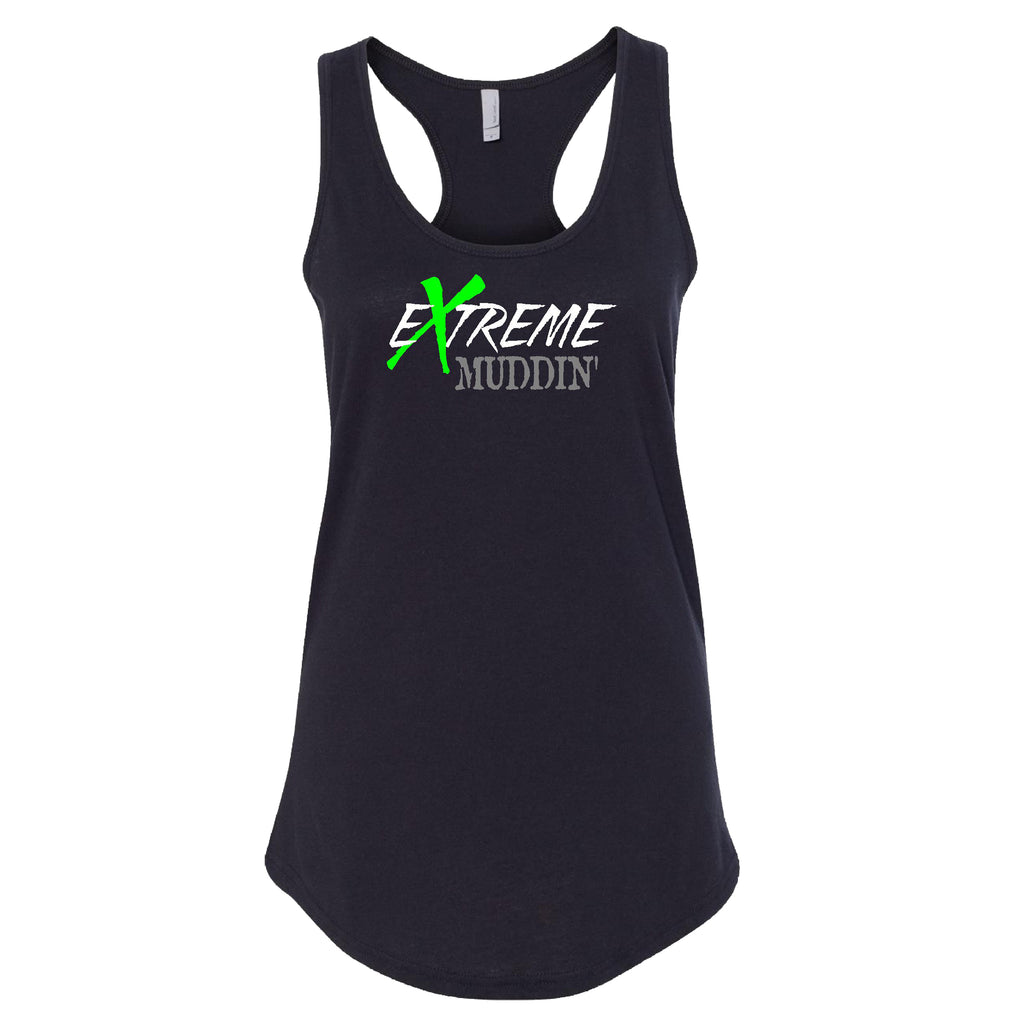 Extreme Muddin Logo on a Black Womens Tank Top