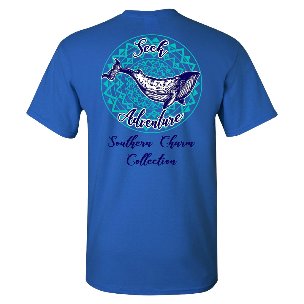Southern Charm Collection Seek Adventure on a Blue Short Sleeve T Shirt