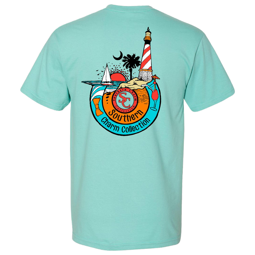 Beach Lighthouse Southern Charm Collection on a Chalky Mint Short Sleeve T Shirt