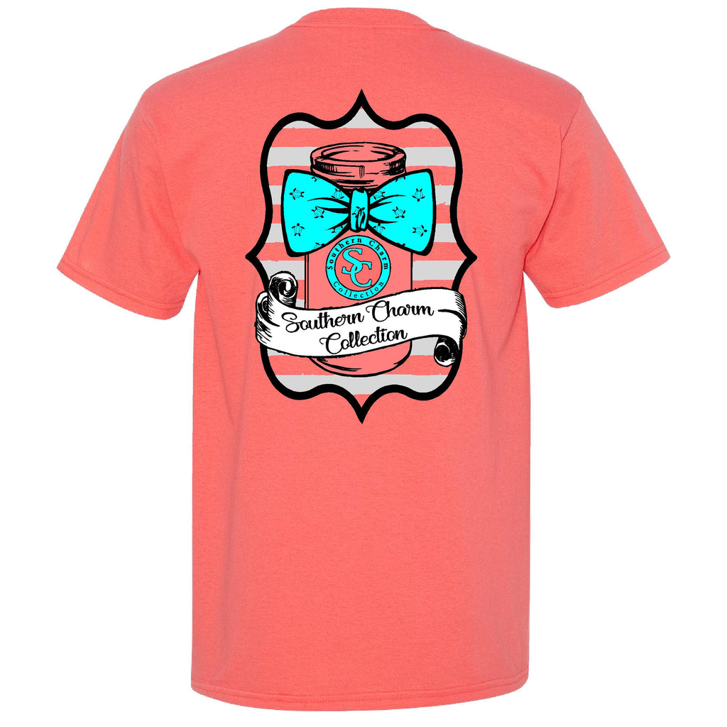 Mason Jar Bowtie Southern Charm Collection on a Coral Short Sleeve T Shirt