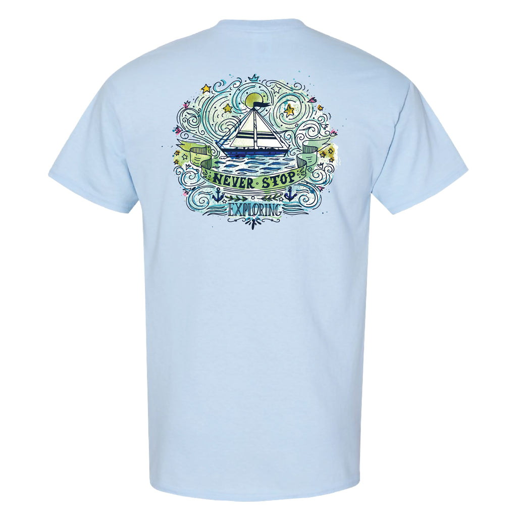 Southern Charm Collection Never Stop Exploring on a Light Blue T Shirt