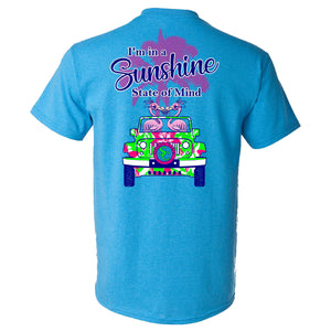 I'm in a Sunshine State of Mind Southern Charm Collection on a Heather Saphire Short Sleeve T Shirt