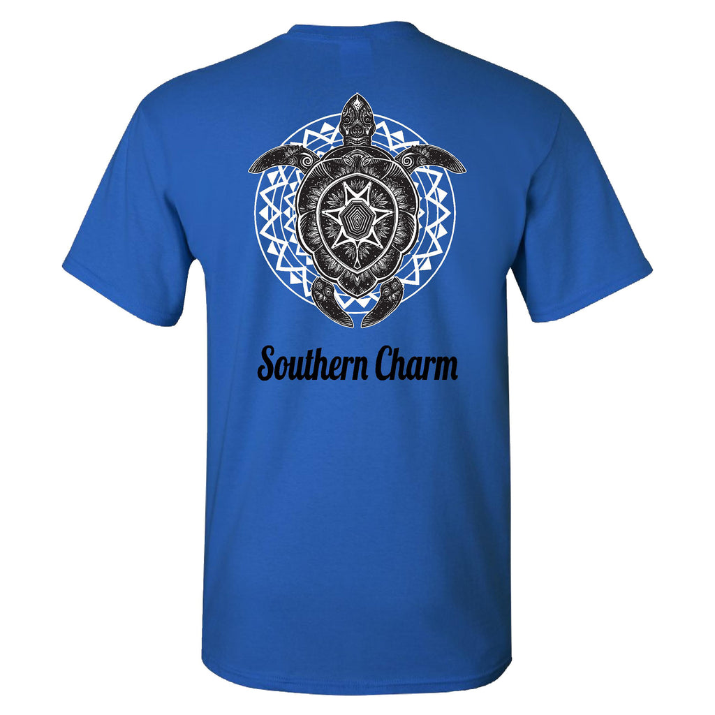 Southern Charm Collection Turtle Print on a Blue Short Sleeve T Shirt