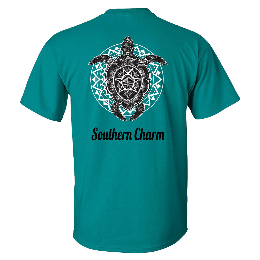 Southern Charm Turtle Print on a Jade Short Sleeve T Shirt