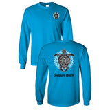 Southern Charm Turtle Print on a Sapphire Long Sleeve T Shirt