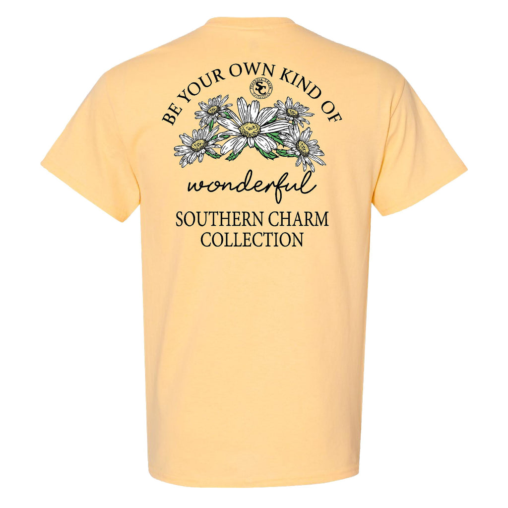 Southern Charm Collection Be Your Own Kind of Wonderful on a Yellow Haze T Shirt