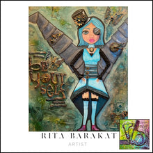 Load image into Gallery viewer, be yourself original mixed media steampunk painting by Rita Barakat