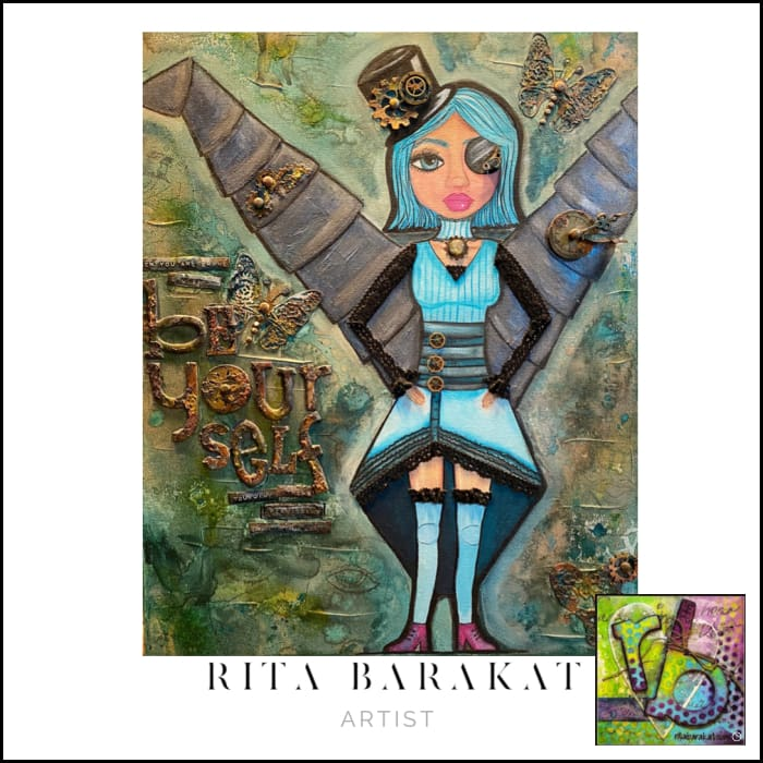 be yourself original mixed media steampunk painting by Rita Barakat