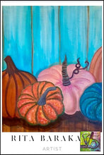 Load image into Gallery viewer, The Blue Pumpkin original oil painting by Rita Barakat