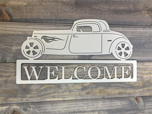 "Hot Rod ""Welcome""  Metal Sign"