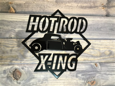 Hot Rod X-ing Metal Sign