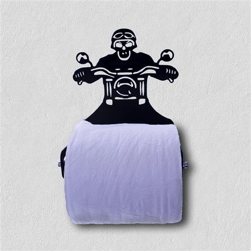Skull Motorcycle Rider Toilet Paper Dispenser