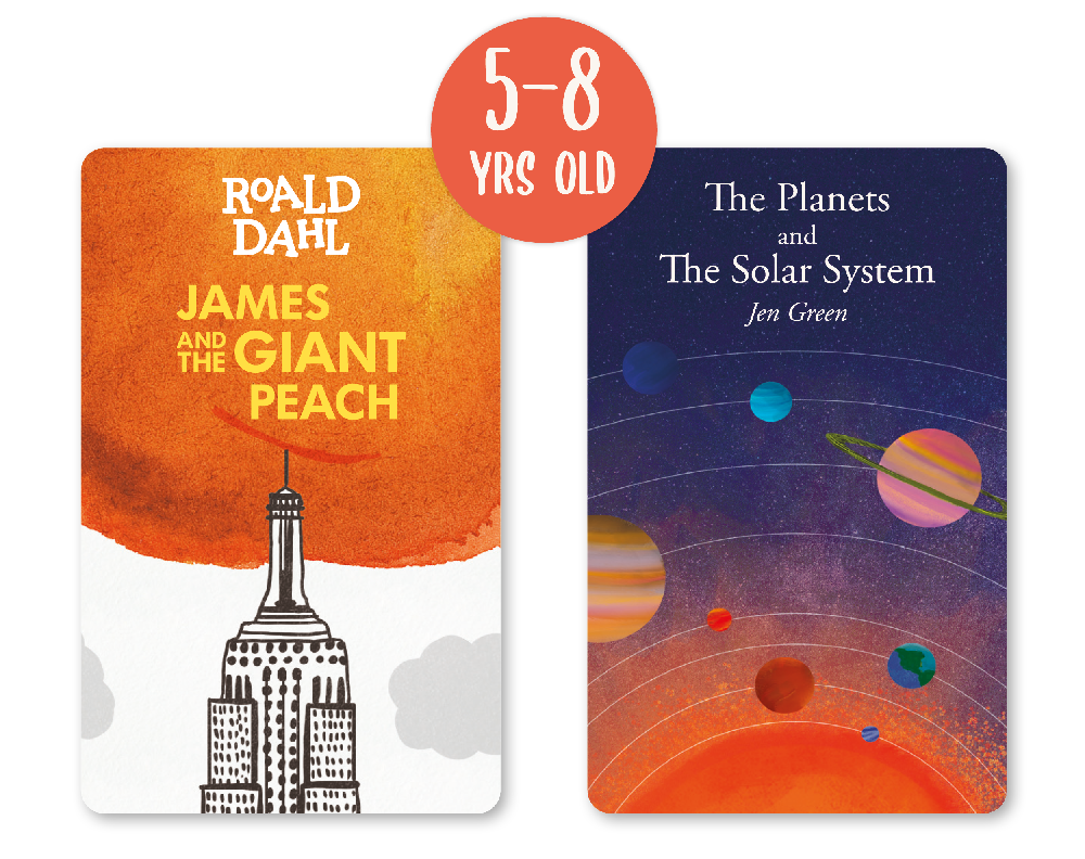 2 cards suitable for 5-8 year olds: James and the Giant Peach and The Planets and The Solar System