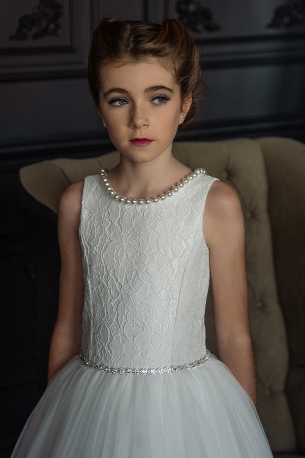 carmens designs communion dress with lace bodice with pearl neckline
